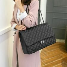 Large Quilted Shoulder Bag Big Leather Clutch Handbags Luxury Womens Black Girl