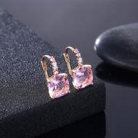 "Betsey ""Sweetheart"" AB Pink Crystal Heart Leverback Dangle Earrings"