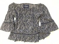 Superdry Prairie Girl Boho Off Shoulder Paisley Blue/White Top Size Small
