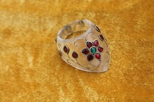 Mughal Islamic Ottoman rock crystal stone jewelled setted archery thumb ring