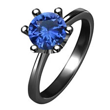 Ring With 14K Black Gold Over 1.20 Ct Round Solitaire Blue Sapphire Engagement