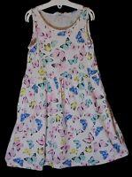 Girls H&M White Pink Blue Pastel Butterfly Sleeveless Jersey Dress Age 7-8 Years