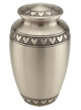 Large Classic Silver with Hearts Urn for Adult Pet Dog Ashes Cremains Memorial