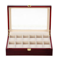 12 Grids Wooden Watch Box Storage Jewelry Display Case Clear Top Organizer Case