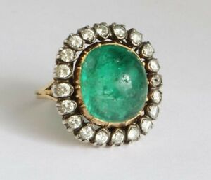 14k Yellow Gold on 925 Sterling Silver Cabochon Vintage Style Round Halo Ring