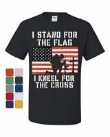 I Stand for the Flag I Kneel for the Cross T-Shirt Patriotic Military