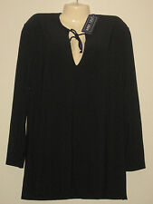ANNE COLE COLLECTION SWIM SUIT COVER-UP TOP BLACK SIZE:M NWT $78.00
