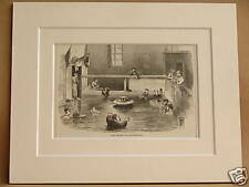 LEUKERBAD SPA BATHS SWITZERLAND ANTIQUE MOUNTED ENGRAVING FROM c1890 PUBLICATION