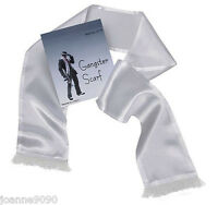 New Budget White Scarf with Tassles Gangster Moll Fancy Dress Costume Accessory