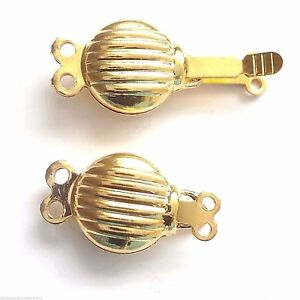 10 Sets Gold Plated 2 Strand 14mm Push In Clasps Findings