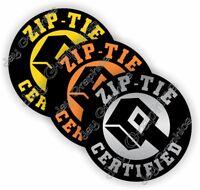 (3) Funny ZIP TIE Certified Hard Hat Stickers Welding Helmet Decals Construction