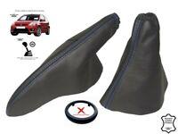 Gear & Handbrake Gaiter For Ford Fiesta 2002-2008 Leather Blue Stitching