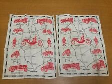 Vintage Irish Linen Tea Towels x 2 in Original Packing. Cars. C.1960's Dubony.