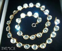 ART DECO Open Back Diamond Paste Crystal Bezel Set VINTAGE RIVIERE NECKLACE