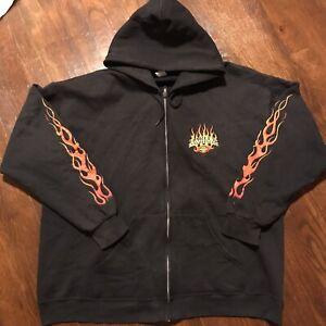 VTG Harley Davidson Sweatshirt Hoodie XL Eagle Flames Full Zip