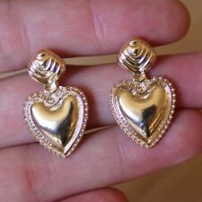 Gold Love Heart Statement Dangle Earrings Studs. Beaded Boho Vintage Jewellery