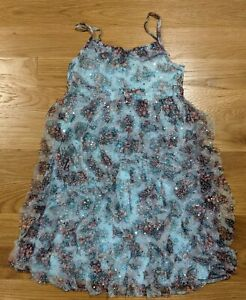 NWT Justice Blue Pink Floral Girls Dress Size S 10 Summer Rhumba Silver Sequin