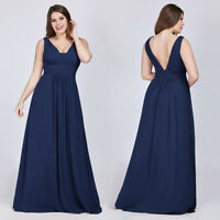 UK Ever-Pretty Plus Size V-neck Long Formal Evening Gowns Cocktail Party Dresses