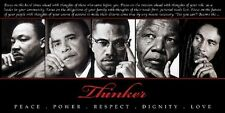 Thinker: King,Obama,Malcolm,Mandela & Marley (18x36 in - Black History Poster)