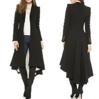 Retro Victorian Women Steampunk Swallow Tail Goth Long Trench Coat Jacket