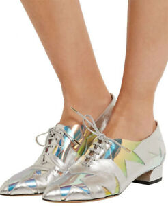 """CHARLOTTE OLYMPIA """"STARMAN"""" SILVER LEATHER IRIDESCENT PVC BROGUES LOAFERS SHOES"""
