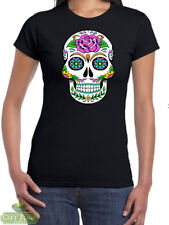 Sugar Skull Day of the Dead Dia de Muertos Womens T-Shirt