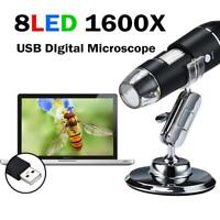 8LED 1600X Zoom 2MP USB Digital Microscope Endoscope Magnifier Camera Life Stand