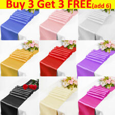 """12""""x108"""" inch Satin Table Runner Runners Chair Swags Wedding Party Christmas UK"""
