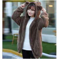 Women's Outwear Winter Warm Hoodies Loose Fluffy Bear Ear Long Sleeve Coat