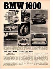 1967 BMW 1600 ~ ORIGINAL 2-PAGE ARTICLE / AD