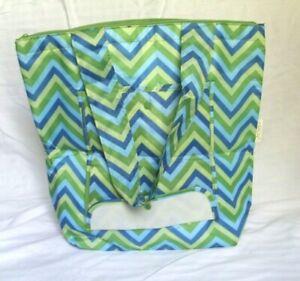 Sachi Insulated Shopping Bag Green Blue Zipper Handles Folds NEW