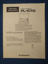 PIONEER PL-670 TURNTABLE OWNER OPERATING MANUAL FACTORY ORIGINAL