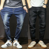 New Men Casual Blue Harem Denim Pants Straight Loose Fit Stretch Jeans Trousers