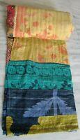 Vintage throw kantha quilt 100% old cotton saris patchwork bedspreads gudari