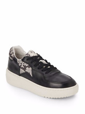 NIB Ash Fool Snake-Print Trimmed Leather Platform Sneakers. Size 9