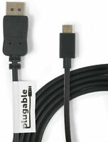 Plugable USB C to DisplayPort Adapter - 6ft (1.8m) Adapter Cable (Supports Re...
