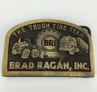 VTG Old Brad Ragan BRI Tough Tire Team Rockford Belt Buckle 18 Wheeler Dozer CAT