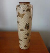 Rare Japanese Meiji Satsuma vase butterflies in gilt net marked Excellent cond.