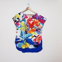 Anthea Crawford Size M Medium Bright Floral Tunic Top Blouse