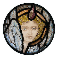 Angel stained glass fragment, stained glass, angel suncatcher, angel face, xmas