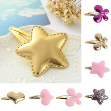 10pcs Baby Girls Hair Clip Star PU Leather Pin Kid Hairpin Xmas Gift Butterfly