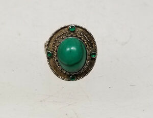 Antique Vintage Sterling Silver Malachite Ring Jewelry Hardstone