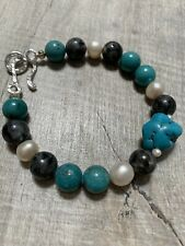 Turquoise, white pearls and black labradorite 925 Sterling silver clasp Bracelet