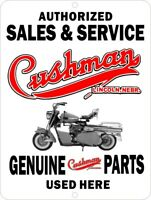 "Cushman Motor Scooter Sales and Service Aluminum 12"" x 9"" Sign"