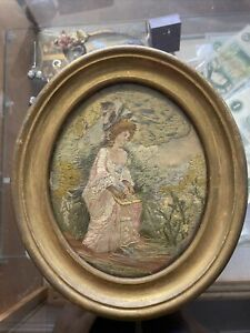 Antique Small Georgian Silk Embroidery Needlework Painting