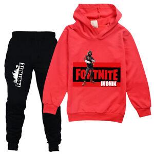 Boys Girls Fortnite Kids Hoodies Long Sleeve Tracksuits Set Casual Tops+Pants