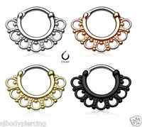 Tribal Fan Nose Septum Clicker Surgical Steel Nose Ring Piercings Jewelry 16G
