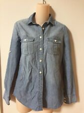 J.CREW THE PERFECT SHIRT WOMENS XS DENIM / CHAMBRAY - FADED BLUE