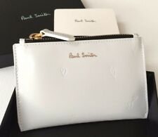 PAUL SMITH WHITE LEATHER COIN PURSE WITH EMBOSSED HAND DRAWN HEART MOTIF BNIB