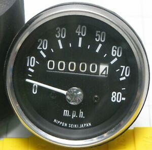 """Nippon Seiki 80 mph 2 1/2"""" Speedometer 2:1 ratio scooter motorcycle snowmobile"""